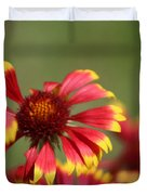 Lemon Yellow And Candy Apple Red Coneflower Duvet Cover