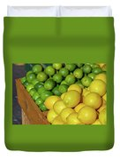 Lemons And Limes At Market Duvet Cover
