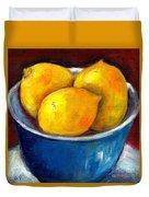 Lemons In A Blue Bowl Grace Venditti Montreal Art Duvet Cover