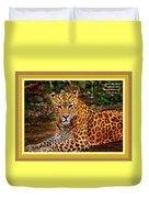 Leopard Beauty Catus 1 No. 1 L A With Decorative Ornate Printed Frame Duvet Cover