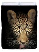 Leopard In The Dark Duvet Cover by Johan Swanepoel