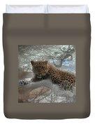 Leopard Tree Hugger Photo Collage Duvet Cover
