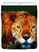 Leopard Watching At His Prey Duvet Cover by Pamela Johnson
