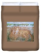 Leopard With Cub Duvet Cover