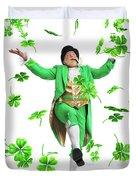 Leprechaun Tossing Shamrock Leaves Up In The Air Duvet Cover by Oleksiy Maksymenko