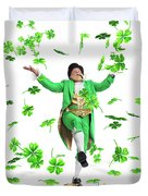 Leprechaun Tossing Shamrock Leaves Up In The Air Duvet Cover by Oleksiy Maksymenko