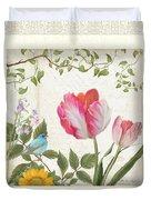 Les Magnifiques Fleurs I - Magnificent Garden Flowers Parrot Tulips N Indigo Bunting Songbird Duvet Cover