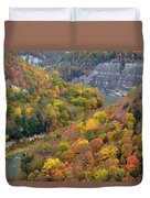 Letchworth Falls Sp Fall Colored Gorge Duvet Cover