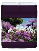 Two Bumblebees Discover The World Duvet Cover