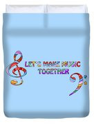 Let's Make Music - Blue Duvet Cover
