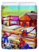 Lets Play Hockey Duvet Cover