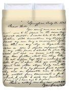 Letter From Abraham Lincoln To Alden Duvet Cover