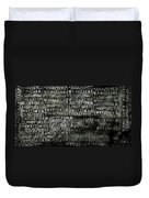 Letters And Numbers Grey On Black Duvet Cover