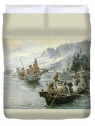 Lewis And Clark On The Lower Columbia River Duvet Cover by Charles Marion Russell