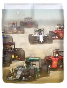 Lewis Hamilton Leads The Pack Duvet Cover