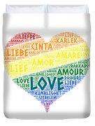 Lgbt Rainbow Hearth Flag Illustrated With Love Word Of Different Languages Duvet Cover