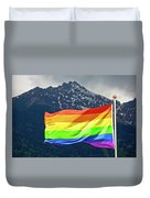 Lgbtq Rainbow Flag With Snowy Mountain Background View Duvet Cover