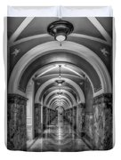 Library Of Congress Building Hallway Bw Duvet Cover