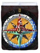 License Plate Compass North South East West Road Trip Letters On Old Red Barn Wood Duvet Cover