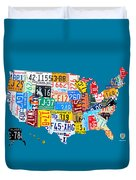 License Plate Map Of The Usa On Royal Blue Duvet Cover