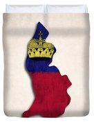 Liechtenstein Map Art With Flag Design Duvet Cover