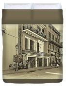 Life In The Quarter - Antique Sepia Duvet Cover