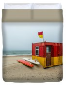 Lifeguard Station At Brittas Bay In Ireland Duvet Cover