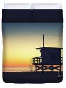 Lifeguard Tower At Sunset Duvet Cover