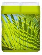 Light Green Palm Leaves Duvet Cover