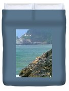 Light House And Sea Lions Duvet Cover