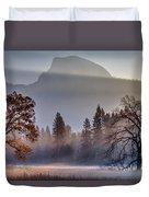 Light Rays In Yosemite Ground Fog Duvet Cover