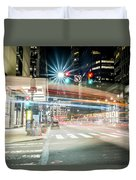 Light Trails On 17th And Market Duvet Cover