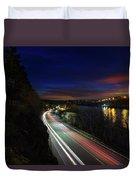 Light Trails On Highway 99 Duvet Cover