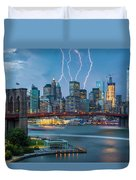 Lightening Striking Manhattan Duvet Cover