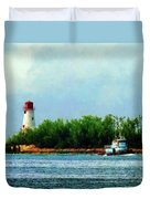 Lighthouse And Boat Nassau Bahamas Duvet Cover
