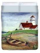 Lighthouse And Dinghy Duvet Cover