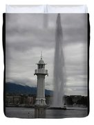 Lighthouse And Fountain Duvet Cover