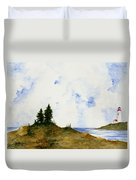 Lighthouse And Pine Trees Duvet Cover