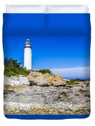 Lighthouse And Rocks Duvet Cover
