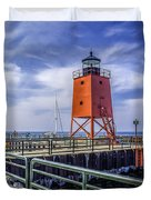 Lighthouse At Charlevoix South Pier  Duvet Cover