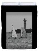 Lighthouse Boats Duvet Cover