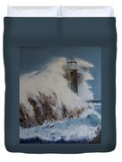 Lighthouse In A Storm Duvet Cover by David Hawkes