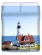 Lighthouse In Maine Duvet Cover