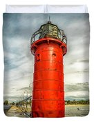 Lighthouse In South Haven Duvet Cover