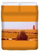 Lighthouse Manistique Retro Pano Duvet Cover