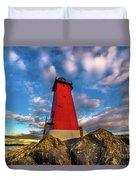Lighthouse Manistique Sunset -5350 Duvet Cover