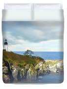 Lighthouse On A Jetty. Duvet Cover