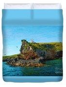 Lighthouse On Cliff Dunedin New Zealand Duvet Cover