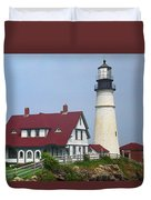 Lighthouse - Portland Head Maine Duvet Cover