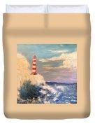 Lighthouse Under Lavender Sky Duvet Cover